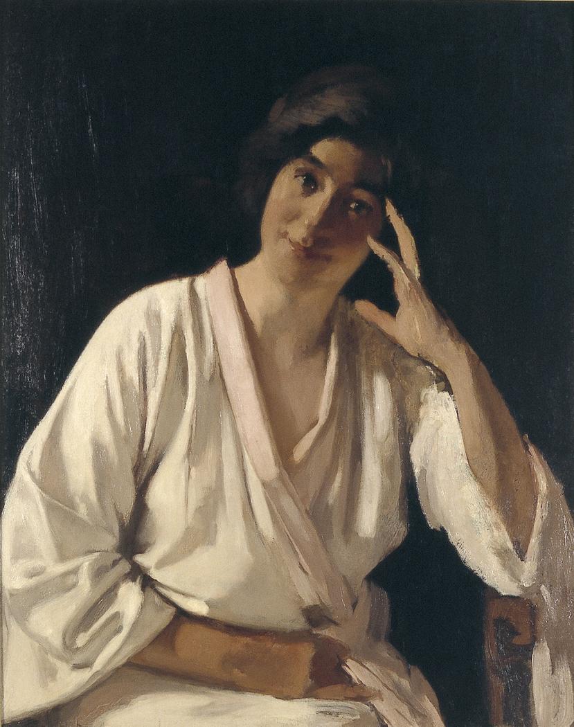 Marie Witsen in witte kimono en face
