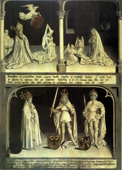 Nativity with Mary of Burgundy, Jan Crabbe and Pierre Vaillant, series of 17 paintings of counts of Flanders with abbots of Ter Duinen
