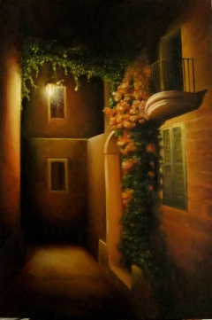 Night Street at Mdina. 60cm  x  80cm  oil on canvas