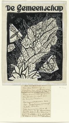 Ontwerp voor de omslag van 'De Gemeenschap', met een voorstelling van vlinders rond bladeren en bloemen vliegend