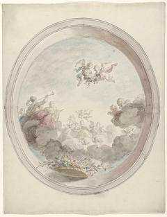 Ontwerp voor een plafondschildering met musicerende vrouwen op wolken