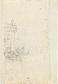 Portico met vazen en tuin