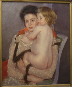 Portrait of Reine LeFebvre Holding a Nude Baby