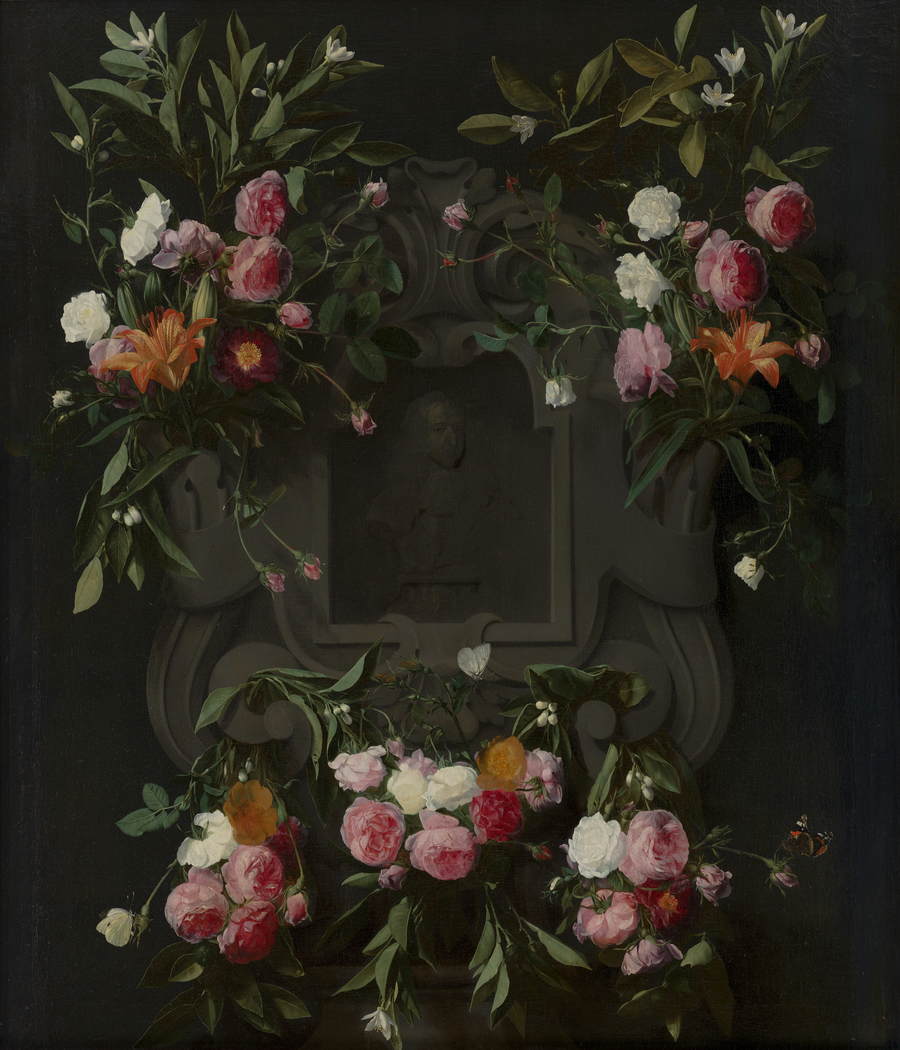 Portrait of Stadholder-King William III (1650-1702) surrounded by a Garland of Flowers