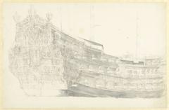 Portret van een (gefantaseerd?) Engels schip met Justitia op de spiegel