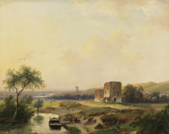 River landscape near Haarlem with windmill and the ruins of Brederode
