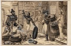 Scène au Pied de la Colline de Ste. Therèse. Partie de l'Acqueduc de Rio Jan Nègre affranchi donnant à boire à ses compatriotes esclaves