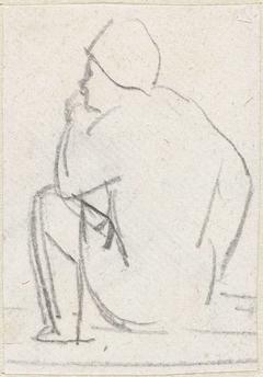 Schets van een zittende man, op de rug gezien