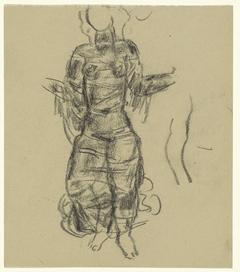 Schetsblad met studie van een vrouw in draperieën