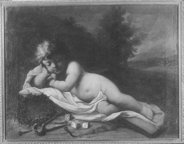 Schlafendes Jesuskind mit Marterwerkzeugen (?)