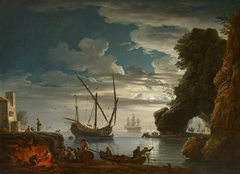 Seaport by Moonlight - Night (after Claude-Joseph Vernet)