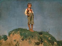 Shepherd boy on a grass hill