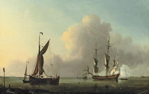 Ships in a calm sea off the coast with a man o' war firing the morning gun