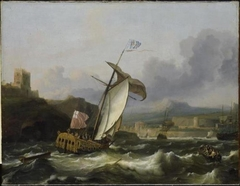 Ships sail into a southern harbor