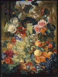 Still life of flowers and fruit on a marble slab