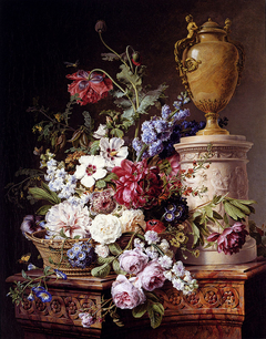 Still life of flowers in a basket on a marble pedestal