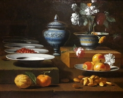 Still life with fruit and nuts (detail).