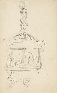 Studie naar ornamentaal beeldhouwwerk aan een godshuis