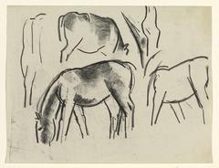 Studie van koeien en paarden