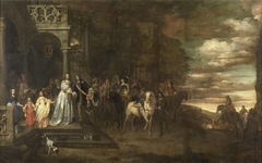 The Leavetaking of Captain Hendrik de Sandra (1619-1707), sent off by his Wife and Children