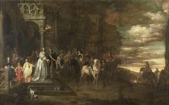 The Leavetaking of Captain Hendrik de Sandra (1619-1707), sent off by his Wife and Children