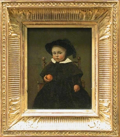 The Painter Adolphe Desbrochers, child, holding an orange