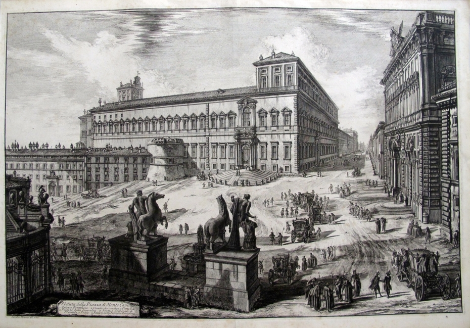 THE PIAZZA DEL QUIRINALE WITH THE STATUES OF THE HORSE-TAMERS SEEN FROM THE BACK