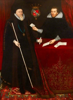 Thomas Sackville, 1st Earl of Dorset (1536-1608) being presented with Petitions by his Secretary