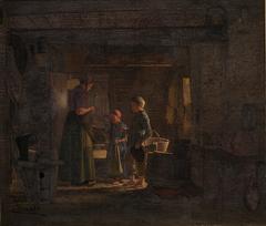 To tiggerbørn i et bondekøkken