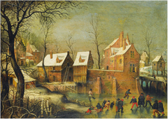 Townscape with skaters on a frozen river