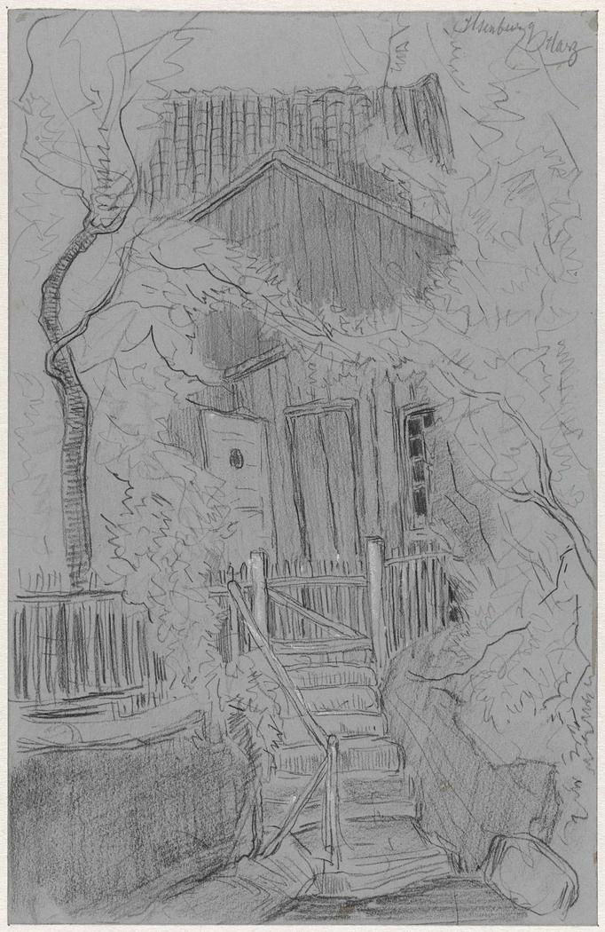 Trap naar een houten huis te Ilsenburg in de Harz