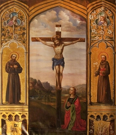 Triptych with Christ crucified with Saint Mary Magdalen (after Pietro Perugino), and Saint Francis and Saint Anthony of Padua