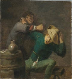 Two brawling peasants with a barrel