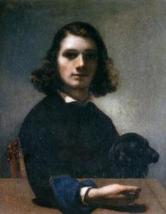 Autoportrait au chien noir
