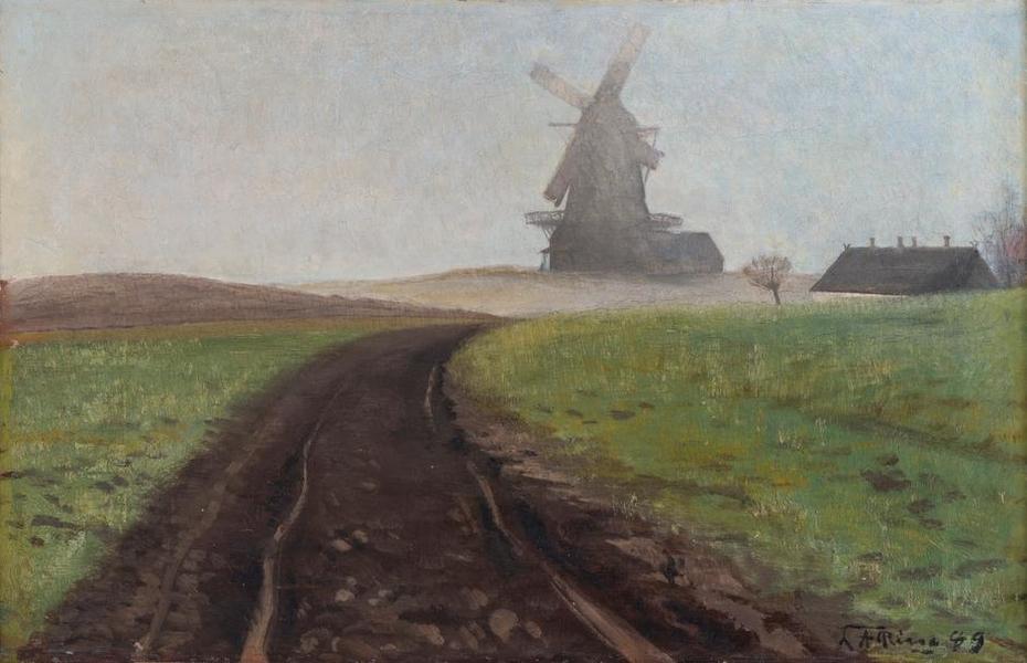 Foggy landscape with Mogenstrup Mill (1889)
