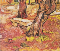 Stone bench in the garden of the hospital of Saint-Paul