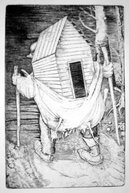 """""""Uprooted Home"""" copper engraving"""