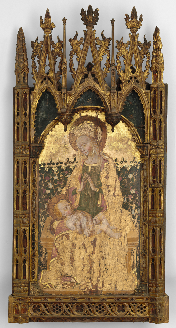 Virgin and Child before a Rose Hedge