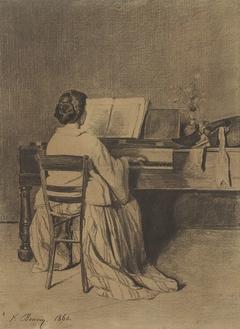 Vrouw aan de piano, op de rug gezien