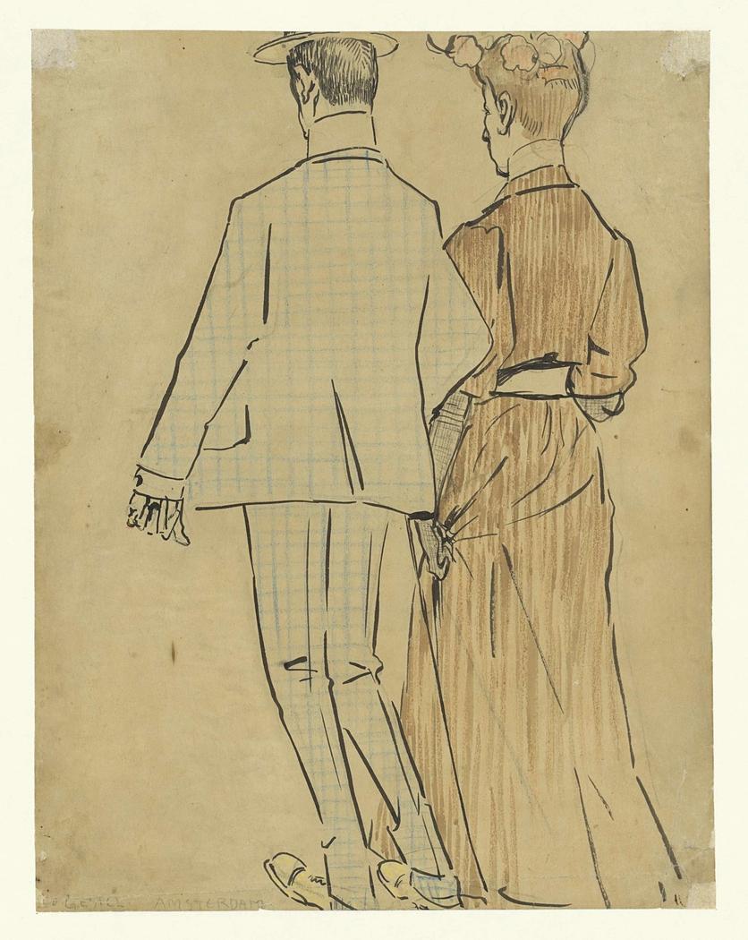 Wandelend paar, van achter gezien