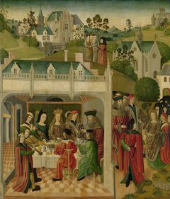 Wedding Feast of Saint Elizabeth of Hungary and Louis of Thuringia in the Wartburg, inner left wing of an altarpiece made for the Grote Kerk in Dordrecht