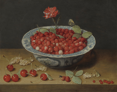 Wild Strawberries and a Carnation in a Wan-Li Bowl