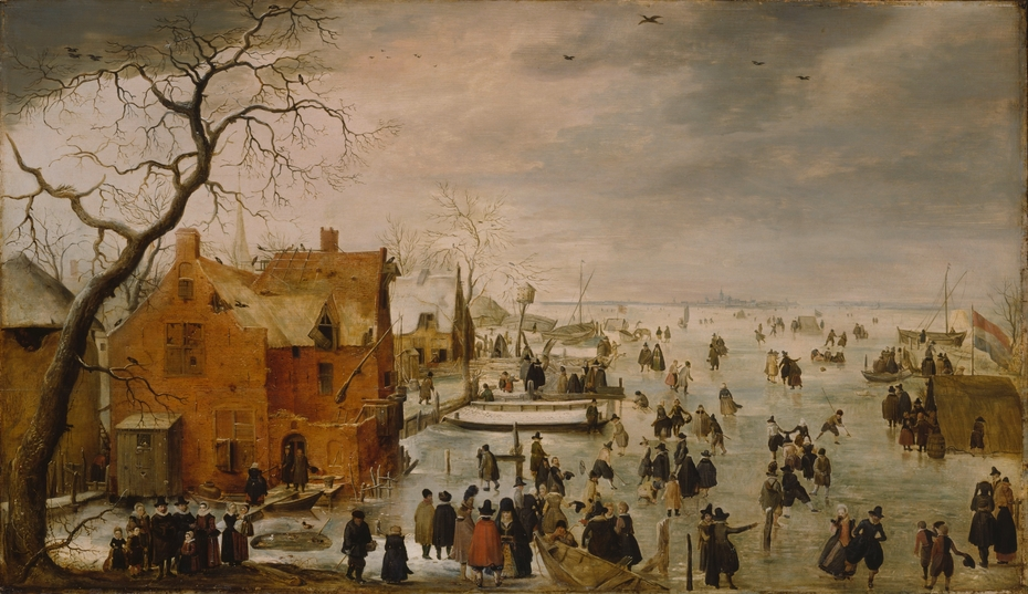 Winter Landscape with Numerous Skaters