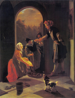 Woman selling fish at the door of a house