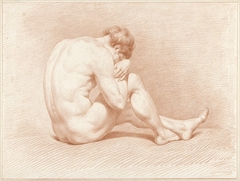Zittend mannelijk naakt, het hoofd op de knie