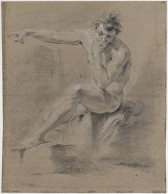 Zittend mannelijk naakt, naar links, de armen op de rug