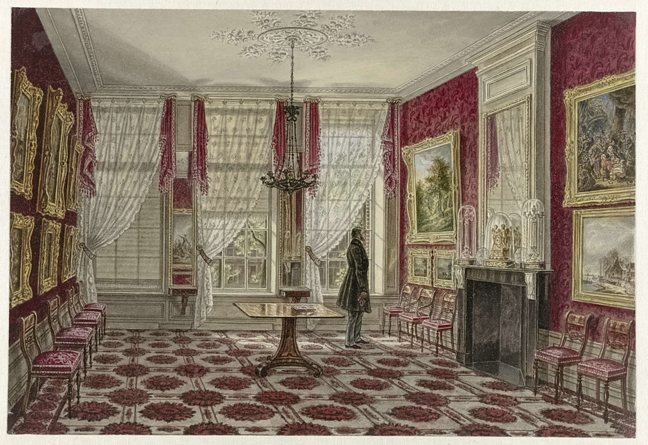 19th Century Interior with Paintings and Standing Figure