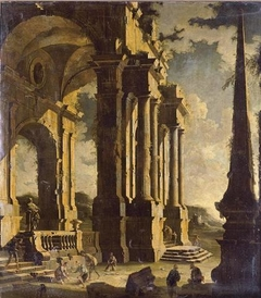A capriccio of classical ruins with figures