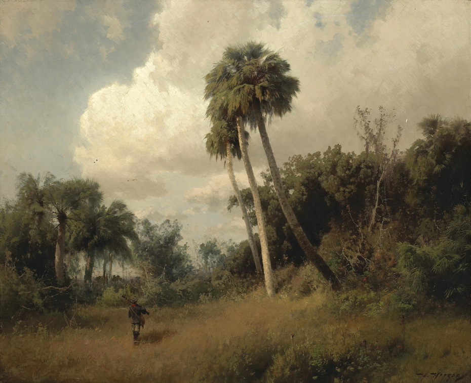 A Hunter among Windswept Palms and Passing Clouds