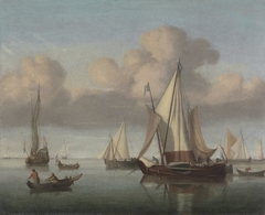 A Kaag at Anchor with Sails Hoisted and a State Yacht and Other Vessel